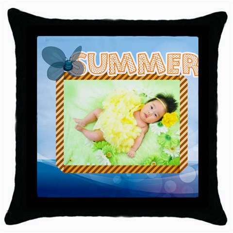 Summer By Summer Time    Throw Pillow Case (black)   Pfye86e29x06   Www Artscow Com Front