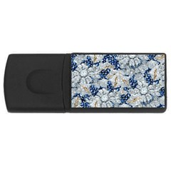 Flower Sapphire And White Diamond Bling 4gb Usb Flash Drive (rectangle) by artattack4all