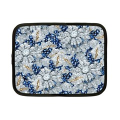 Flower Sapphire And White Diamond Bling Netbook Case (small) by artattack4all
