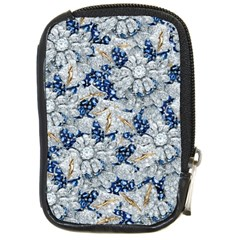 Flower Sapphire And White Diamond Bling Compact Camera Leather Case by artattack4all