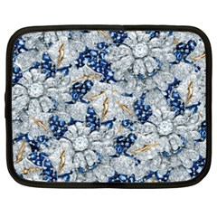 Flower Sapphire And White Diamond Bling Netbook Case (xxl) by artattack4all
