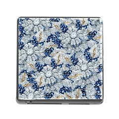 Flower Sapphire And White Diamond Bling Memory Card Reader With Storage (square) by artattack4all