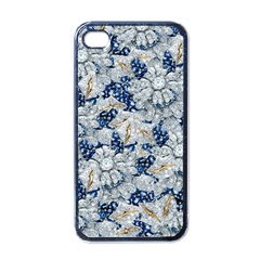 Flower Sapphire And White Diamond Bling Apple Iphone 4 Case (black) by artattack4all