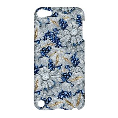 Flower Sapphire And White Diamond Bling Apple Ipod Touch 5 Hardshell Case by artattack4all