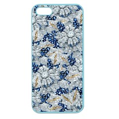 Flower Sapphire And White Diamond Bling Apple Seamless Iphone 5 Case (color) by artattack4all