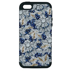 Flower Sapphire And White Diamond Bling Apple Iphone 5 Hardshell Case (pc+silicone)