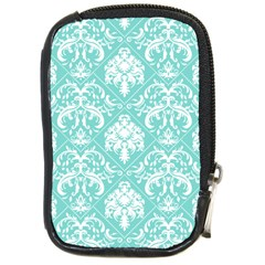 Tiffany Blue And White Damask Compact Camera Leather Case by eatlovepray