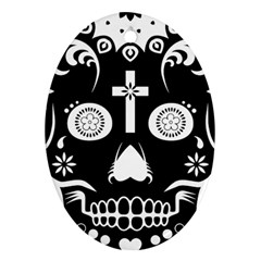 Sugar Skull Oval Ornament (two Sides) by asyrum