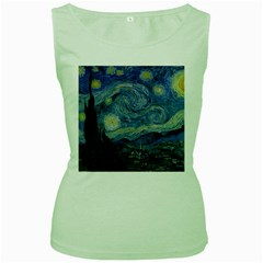 Starry Night Womens  Tank Top (green) by ArtMuseum