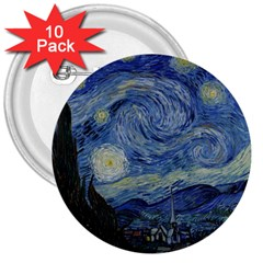 Starry Night 3  Button (10 Pack) by ArtMuseum
