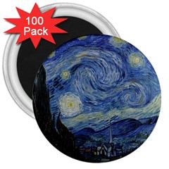 Starry Night 3  Button Magnet (100 Pack)
