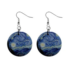 Starry night Mini Button Earrings by ArtMuseum
