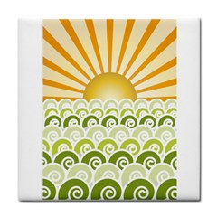Along The Green Waves Ceramic Tile by tees2go
