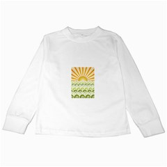 Along The Green Waves Kids Long Sleeve T Shirt by tees2go