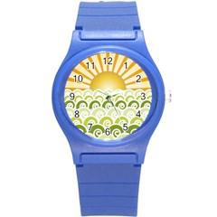 Along The Green Waves Plastic Sport Watch (small) by tees2go