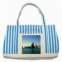 Chicago Skyline Blue Striped Tote Bag by canvasngiftshop