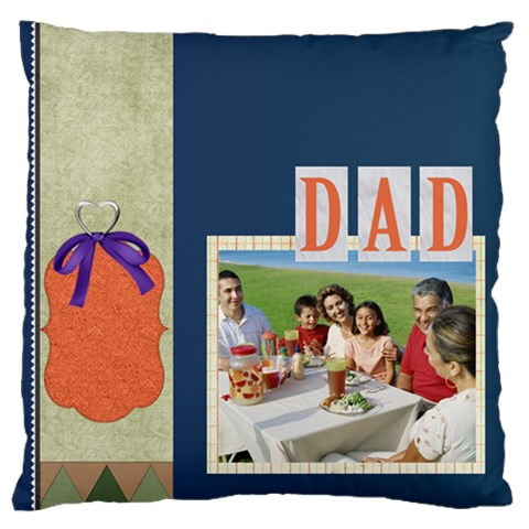 Father By Dad   Large Cushion Case (one Side)   0fushvje012p   Www Artscow Com Front