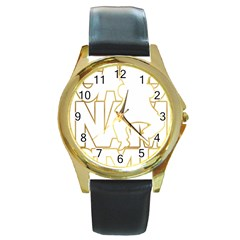Gangnam Style Round Metal Watch (gold Rim)  by avdesigns