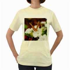 Butterfly 159  Womens  T Shirt (yellow) by pictureperfectphotography
