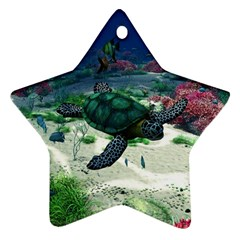 Sea Turtle Star Ornament (two Sides) by gatterwe