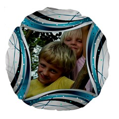 Blue And Silver 18  Premium Round Cushion By Deborah   Large 18  Premium Round Cushion    Txeusa8zv731   Www Artscow Com Front