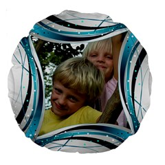 Blue And Silver 18  Premium Round Cushion By Deborah   Large 18  Premium Round Cushion    Txeusa8zv731   Www Artscow Com Back