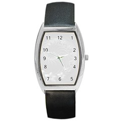 Light Gray Abstract Flowers Tonneau Leather Watch by BestCustomGiftsForYou