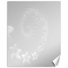 Light Gray Abstract Flowers Canvas 11  X 14  9 (unframed) by BestCustomGiftsForYou