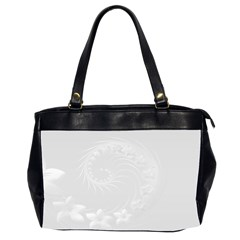 Light Gray Abstract Flowers Oversize Office Handbag (two Sides) by BestCustomGiftsForYou