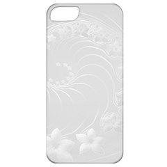 Light Gray Abstract Flowers Apple Iphone 5 Classic Hardshell Case by BestCustomGiftsForYou