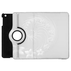 Light Gray Abstract Flowers Apple Ipad Mini Flip 360 Case by BestCustomGiftsForYou