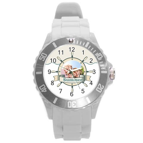 Summer By Summer Time    Round Plastic Sport Watch (l)   S1tkzg0sfu1a   Www Artscow Com Front