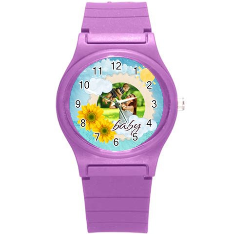 Summer By Summer Time    Round Plastic Sport Watch (s)   9a9i7rxefp6s   Www Artscow Com Front