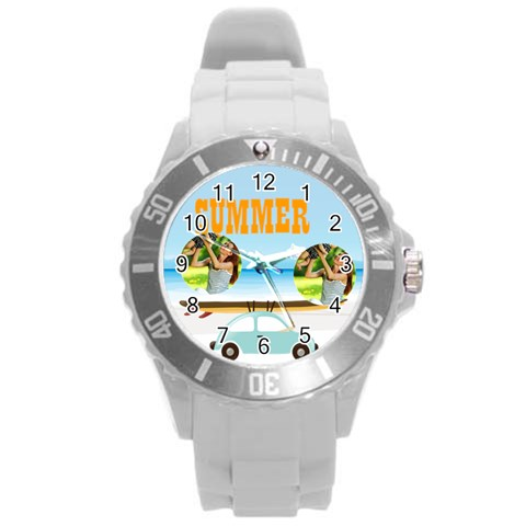 Summer By Summer Time    Round Plastic Sport Watch (l)   Swnp2m5obq17   Www Artscow Com Front