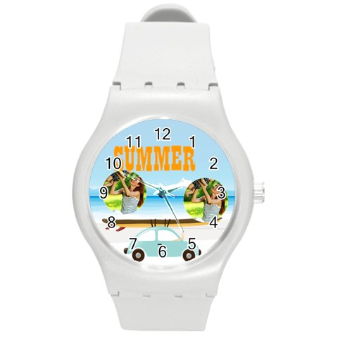 Summer By Summer Time    Round Plastic Sport Watch (m)   Ad6dpb650p4n   Www Artscow Com Front
