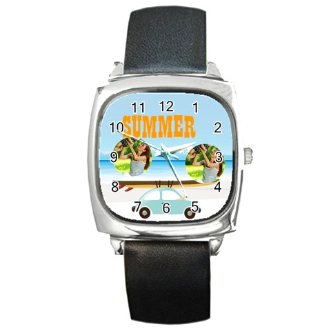 Summer By Summer Time    Square Metal Watch   Z4joppzxc4lh   Www Artscow Com Front