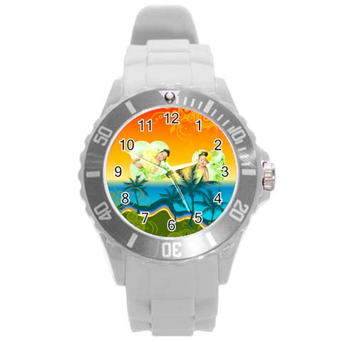 Summer By Summer Time    Round Plastic Sport Watch (l)   Snz9a6jibhcq   Www Artscow Com Front
