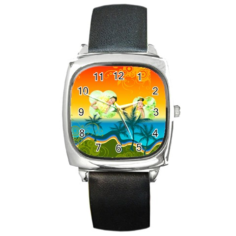 Summer By Summer Time    Square Metal Watch   V0tblzsa1o29   Www Artscow Com Front