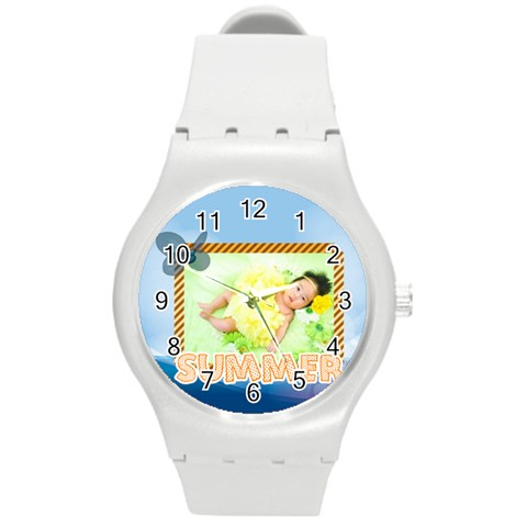 Summer By Summer Time    Round Plastic Sport Watch (m)   Fkwxlcu7do9y   Www Artscow Com Front