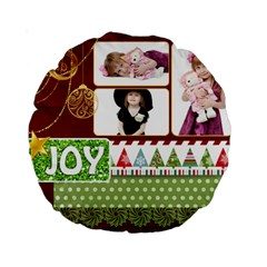 Xmas By Jo Jo   Standard 15  Premium Round Cushion    43ph74m54t5d   Www Artscow Com Front