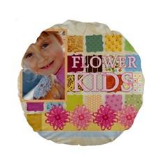 Flower Kids By Jo Jo   Standard 15  Premium Round Cushion    44evds2rgx40   Www Artscow Com Front