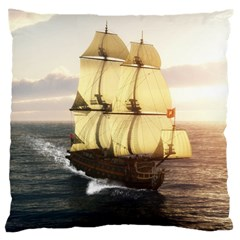 French Warship Large Cushion Case (one Side) by gatterwe
