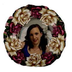 Pink Roses 18  Premium Round Cushion By Deborah   Large 18  Premium Round Cushion    Vb9ah0w8ifg6   Www Artscow Com Front