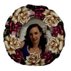 Pink Roses 18  Premium Round Cushion By Deborah   Large 18  Premium Round Cushion    Vb9ah0w8ifg6   Www Artscow Com Back