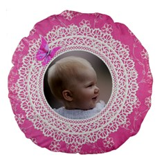 Girl Pink Lace 18  Premium Round Cushion By Deborah   Large 18  Premium Round Cushion    Qt7u9ofhxk97   Www Artscow Com Back