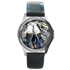 Cowboys Round Metal Watch (silver Rim) by dray6389
