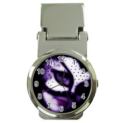 Purple M Money Clip With Watch