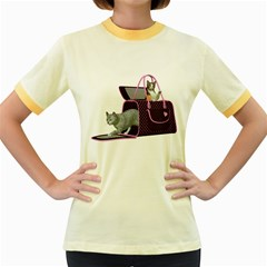 Cat 2 Womens  Ringer T Shirt (colored) by gatterwe