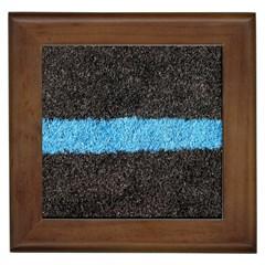 Black Blue Lawn Framed Ceramic Tile by hlehnerer