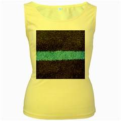 Black Blue Lawn Womens  Tank Top (yellow) by hlehnerer